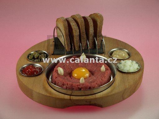 Prkénko na tatarský biftek průměr 30 cm s kamenem